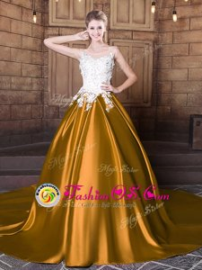 Fashionable Elastic Woven Satin Scoop Sleeveless Court Train Lace Up Lace and Appliques Quinceanera Gowns in Gold