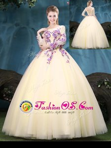 Light Yellow Lace Up Scoop Appliques Quinceanera Gown Tulle Long Sleeves