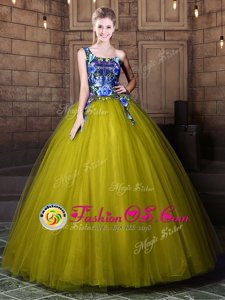 Stunning Multi-color V-neck Lace Up Appliques Quince Ball Gowns Sleeveless