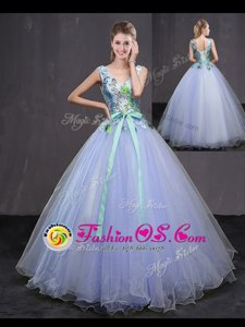 Lavender Sweet 16 Dresses Military Ball and Sweet 16 and Quinceanera and For with Appliques and Belt Sleeveless Lace Up