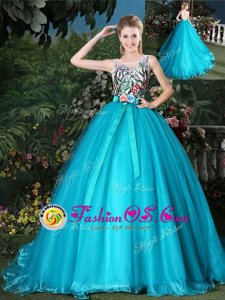 Scoop Teal Sleeveless Brush Train Appliques and Belt Ball Gown Prom Dress