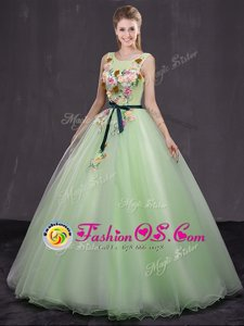 Scoop Yellow Green Organza Lace Up Quince Ball Gowns Sleeveless Floor Length Appliques