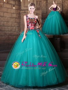 Teal Lace Up One Shoulder Pattern Quinceanera Gowns Tulle Sleeveless