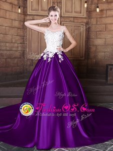 Flirting Court Train Ball Gowns 15 Quinceanera Dress Purple Scoop Elastic Woven Satin Sleeveless Lace Up