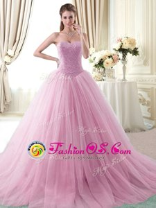 Rose Pink Tulle Lace Up Sweetheart Sleeveless With Train 15 Quinceanera Dress Brush Train Beading