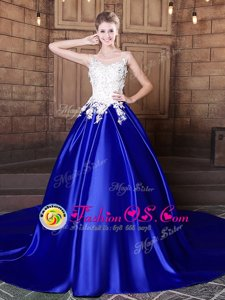 Exquisite Scoop Royal Blue Ball Gowns Appliques Quinceanera Gown Lace Up Elastic Woven Satin Sleeveless With Train