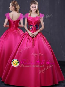 Flirting Hot Pink Cap Sleeves Floor Length Appliques Lace Up Sweet 16 Dress