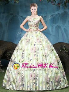 Smart Straps Floor Length Multi-color 15 Quinceanera Dress Tulle Sleeveless Appliques and Pattern