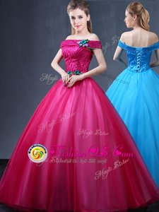 Stylish Off The Shoulder Sleeveless Lace Up Vestidos de Quinceanera Fuchsia Tulle