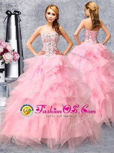 Flirting Rose Pink Sweet 16 Quinceanera Dress Military Ball and Sweet 16 and Quinceanera and For with Beading and Ruffles Sweetheart Sleeveless Lace Up