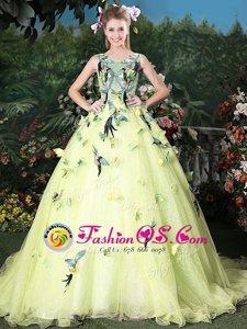 Light Yellow Zipper Scoop Appliques Quinceanera Dresses Organza Sleeveless Brush Train