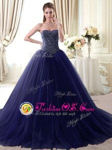Beading and Belt Sweet 16 Dresses Lavender Lace Up Sleeveless Floor Length