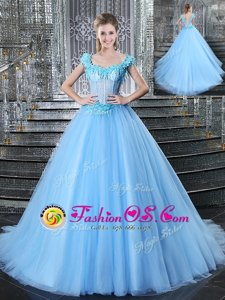 Best Straps With Train Light Blue Sweet 16 Dresses Tulle Brush Train Sleeveless Beading and Appliques
