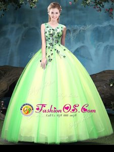 Multi-color Lace Up V-neck Appliques Quinceanera Gowns Tulle Sleeveless
