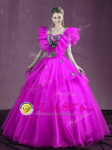 Sleeveless Organza Floor Length Lace Up Quinceanera Dresses in Fuchsia for with Appliques and Ruffles