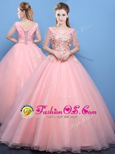 High Class Off the Shoulder Sleeveless Appliques Lace Up Quince Ball Gowns