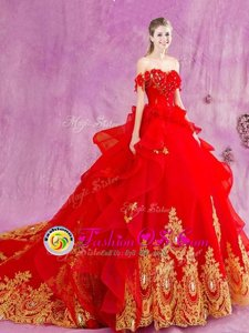 New Style Red Ball Gowns Tulle Off The Shoulder Sleeveless Beading and Appliques and Ruffles With Train Lace Up Quinceanera Dress Court Train