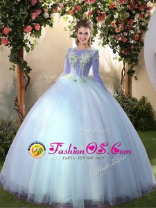 Big Puffy Light Blue Lace Up Scoop Appliques Quinceanera Gown Tulle Long Sleeves