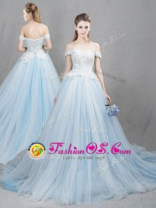 Superior Off the Shoulder Appliques Wedding Dresses Light Blue Lace Up Sleeveless With Train Chapel Train