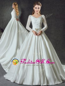 White Long Sleeves Chapel Train Lace and Belt With Train Wedding Dress