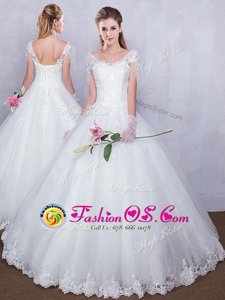 Comfortable Floor Length Ball Gowns Short Sleeves White Wedding Gowns Lace Up