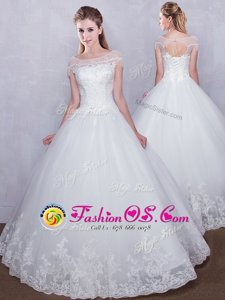 Scoop Lace Bridal Gown White Lace Up Cap Sleeves Floor Length