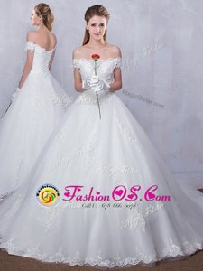 Luxury With Train White Wedding Gowns Scalloped Sleeveless Court Train Lace Up