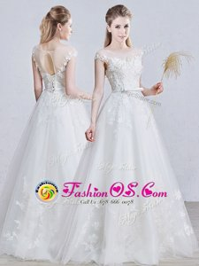 Scoop Short Sleeves Lace Up Floor Length Appliques Wedding Gowns
