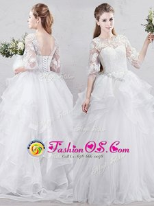 Discount Scoop White Half Sleeves Brush Train Lace and Ruffles With Train Wedding Dresses