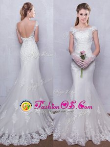 Suitable Mermaid Scoop Cap Sleeves With Train Backless Wedding Gown White and In for Wedding Party with Lace Brush Train
