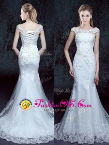 Adorable Mermaid White Wedding Dresses Wedding Party and For with Lace Scoop Cap Sleeves Brush Train Lace Up