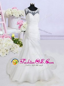 See Through With Train White Wedding Dress Scoop Sleeveless Brush Train Backless