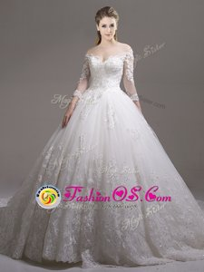 White Wedding Gowns Off The Shoulder Half Sleeves Cathedral Train Zipper