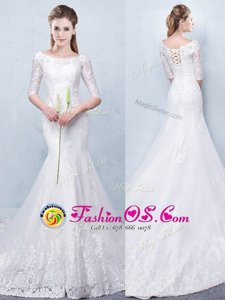 Eye-catching Scoop See Through Short Sleeves Lace Lace Up Bridal Gown