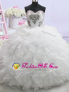 Wonderful White Ball Gowns Sweetheart Sleeveless Organza With Brush Train Lace Up Beading and Ruffled Layers Wedding Dress