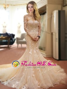 Customized Mermaid Champagne Tulle Lace Up Sweetheart Sleeveless With Train Wedding Gown Court Train Appliques and Hand Made Flower