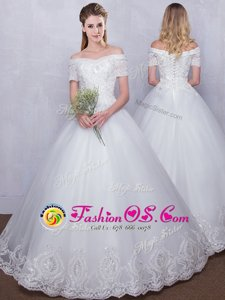 Off the Shoulder Floor Length White Bridal Gown Tulle Short Sleeves Lace