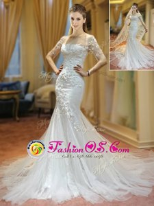 Modern Mermaid White Scoop Lace Up Appliques Wedding Gown Brush Train Half Sleeves