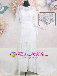 Most Popular Scoop White Empire Beading and Belt Wedding Gowns Zipper Lace Long Sleeves With Train