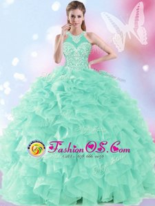 Cute Floor Length Apple Green Quinceanera Gowns Halter Top Sleeveless Lace Up