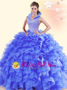 Delicate High-neck Sleeveless Organza Sweet 16 Quinceanera Dress Beading and Ruffles Backless