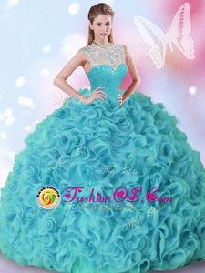 Deluxe High-neck Sleeveless Zipper 15 Quinceanera Dress Aqua Blue Organza