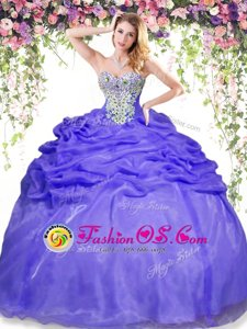 Sleeveless Organza Floor Length Lace Up Quinceanera Gowns in Lavender for with Beading and Pick Ups