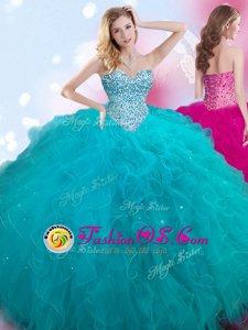 Custom Fit Sweetheart Sleeveless 15 Quinceanera Dress Floor Length Beading Teal Tulle