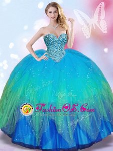 Multi-color Ball Gowns Tulle Sweetheart Sleeveless Beading Lace Up Quince Ball Gowns