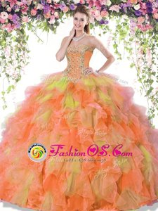 Decent Multi-color Organza Lace Up Sweetheart Sleeveless Floor Length Quince Ball Gowns Beading and Ruffles