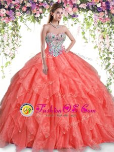 Sophisticated Floor Length Orange Red Quinceanera Dresses Organza Sleeveless Beading and Ruffles