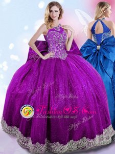 Elegant Eggplant Purple Ball Gowns Halter Top Sleeveless Taffeta Floor Length Lace Up Beading and Bowknot Ball Gown Prom Dress