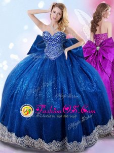 Hot Selling Royal Blue Quinceanera Dress Military Ball and Sweet 16 and Quinceanera and For with Beading and Lace and Bowknot Sweetheart Sleeveless Lace Up
