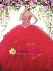 Red Sleeveless Floor Length Beading Lace Up 15th Birthday Dress